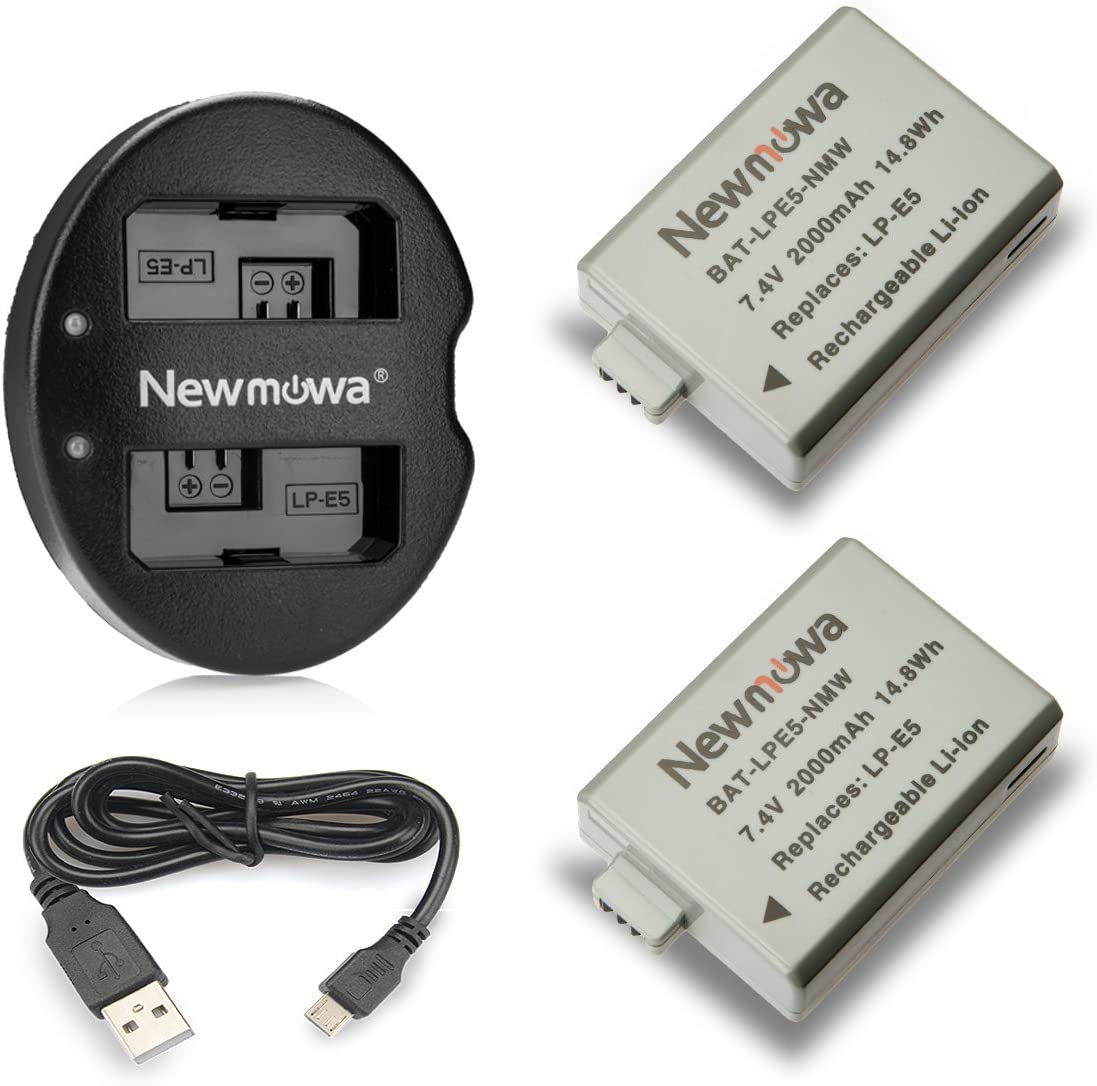 Newmowa LP-E5 Replacement Battery (2-Pack) and Dual USB Charger for Canon LP-E5 and Canon EOS Rebel XS, Rebel T1i, Rebel XSi, 1000D, 500D, 450D, Kiss X3, Kiss X2, Kiss F