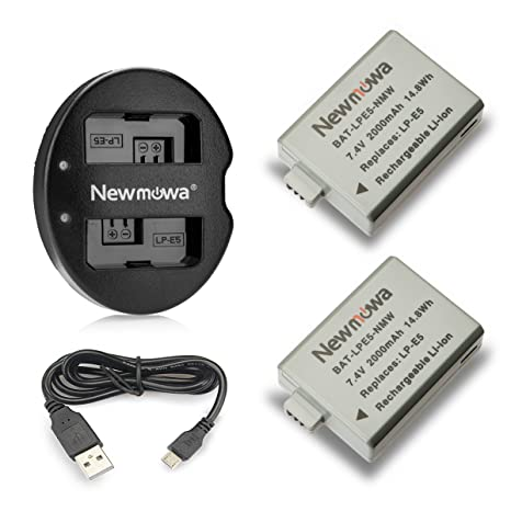 Newmowa LP-E5 Replacement Battery (2-Pack) and Dual USB Charger for CanonLP-E5 and Canon EOS Rebel XS, Rebel T1i, Rebel XSi, 1000D, 500D, 450D, Kiss ...