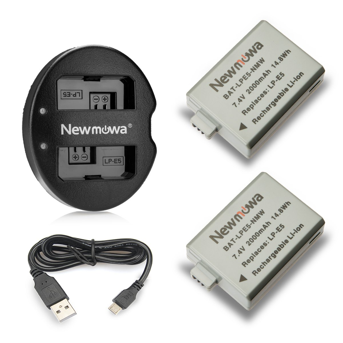 Newmowa LP-E5 Battery (2-Pack) and Dual USB Charger for CanonLP-E5 and Canon EOS Rebel XS, Rebel T1i, Rebel XSi, 1000D, 500D, 450D, Kiss X3, Kiss X2, Kiss F