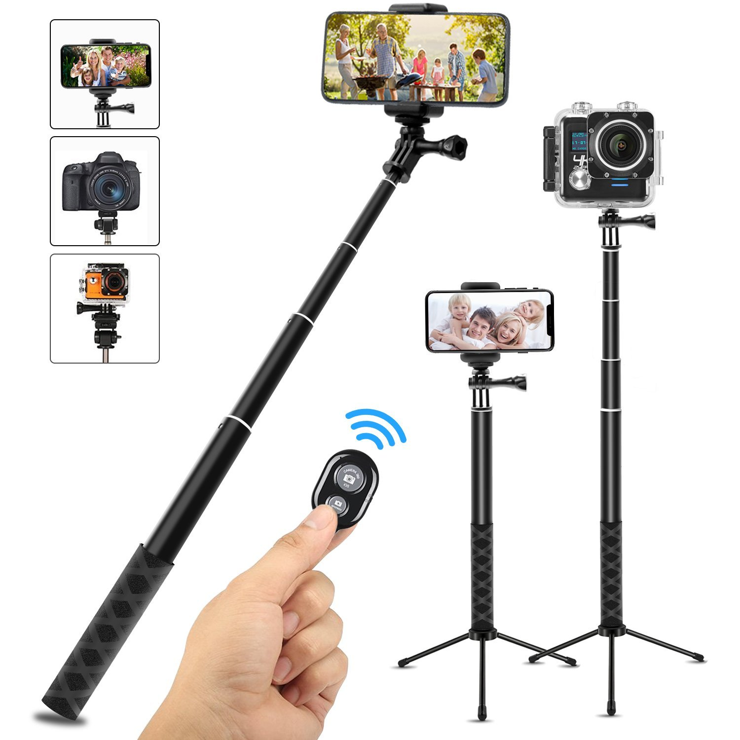 Wsky Selfie Stick Bluetooth, Extendable Selfie Stick Tripod with Wireless Remote for Action Camera, iPhone SE/iPhone 7/iPhone 7 Plus/iPhone 8/8 Plus, and More Android Smart Phone