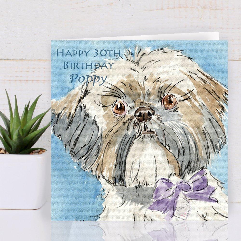 Personalised Shih Tzu Dog Greeting Card: Amazon.co.uk: Handmade