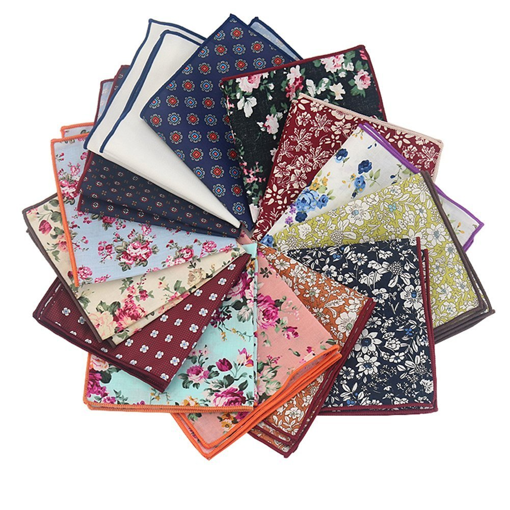 Mantieqingway Men's Cotton Floral Handkerchief (Mix-2)