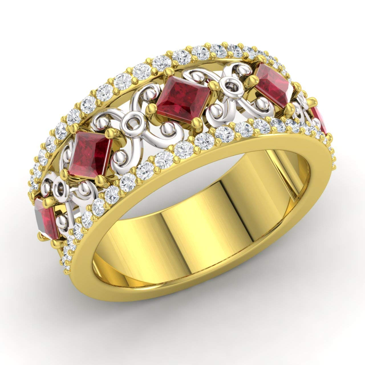 Diamondere Natural And Certified Princess Cut Ruby Diamond Wedding Ring In 10k Yellow Gold 162 Carat Half Eternity Stackable Band For Women: Princess Cut Ruby Diamond Wedding Ring At Websimilar.org