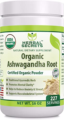 Herbal'secrets USDA Certified Organic Ashwagandha Root Powder 16 oz Non-GMO 227 Serving