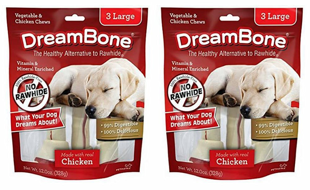 DreamBone Chicken & Vegetable Dog Chew, Large, 3 Count Per Pack (Pack of 2)