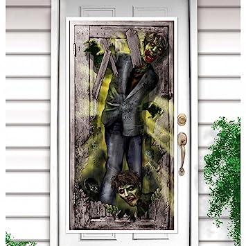 Amakando Türfolie Deko Tür Halloween Türdeko Zombie Attacke Angriff
