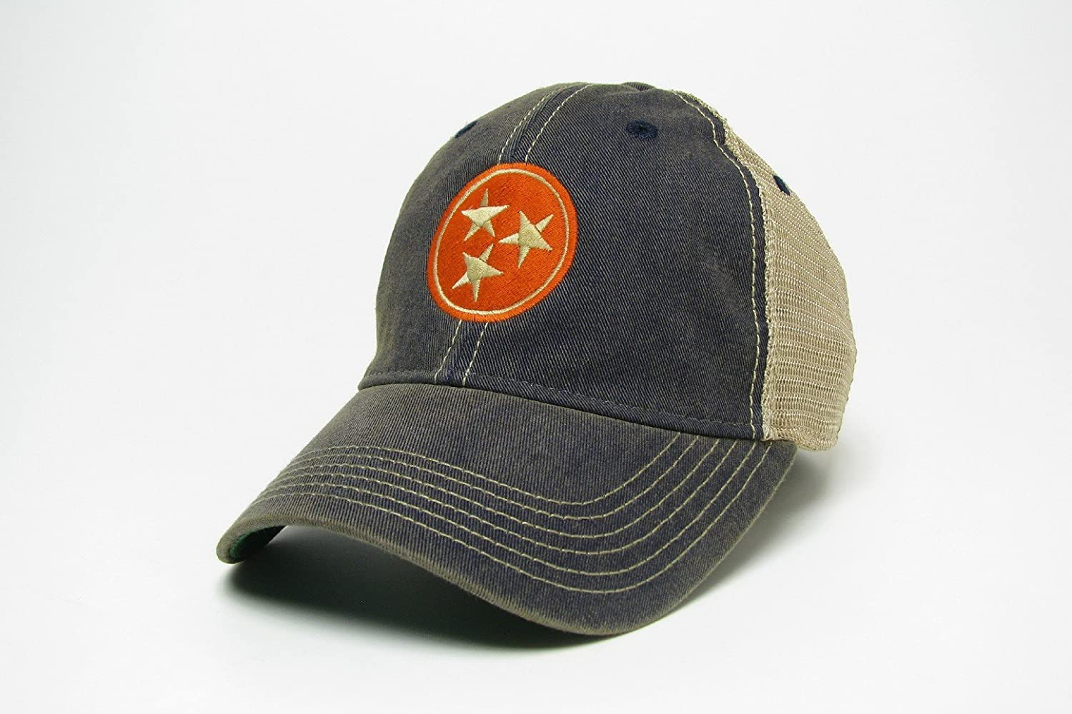 df216511dad Amazon.com   Tennessee Tri-star Trucker Style Hat Cap - 2 Colors - Gray and  Navy (Navy)   Sports   Outdoors