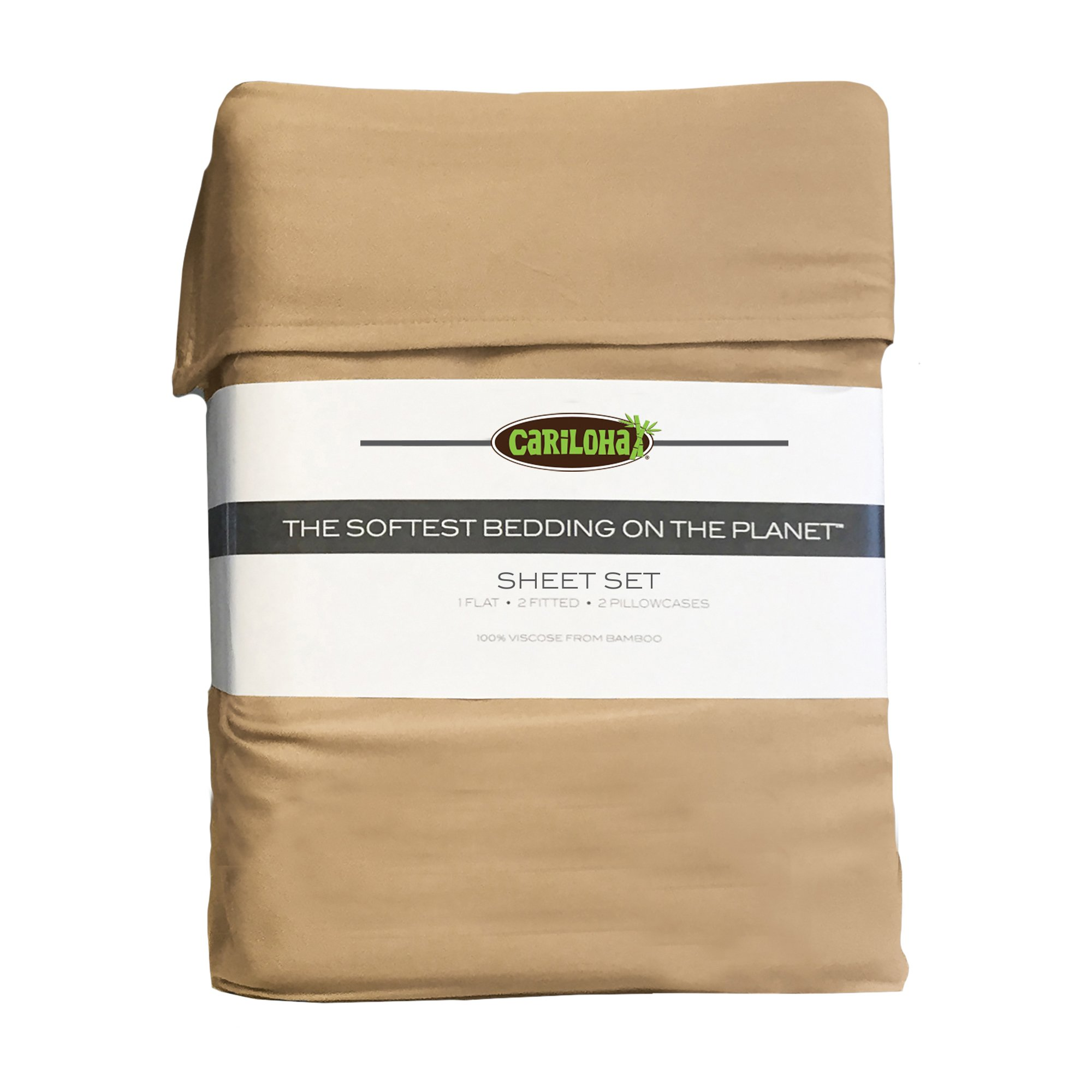 Classic Bamboo Sheets by Cariloha - 4 Piece Bed Sheet Set - Softest Bed Sheets and Pillow Cases - Lifetime Protection (King, Sandy Shore) by Cariloha (Image #3)