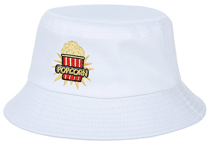 c9ea794da13 Gemvie Women Embroidered Popcorn Bucket Hat Beach Caps Summer Sun Hats White