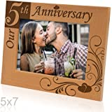 "Kate Posh - ""Our 5th Anniversary"" Wooden Picture Frame (5x7 Horizontal)"