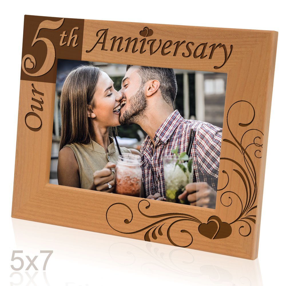 Kate Posh - ''Our 5th Anniversary'' Wooden Picture Frame (5x7 Horizontal)