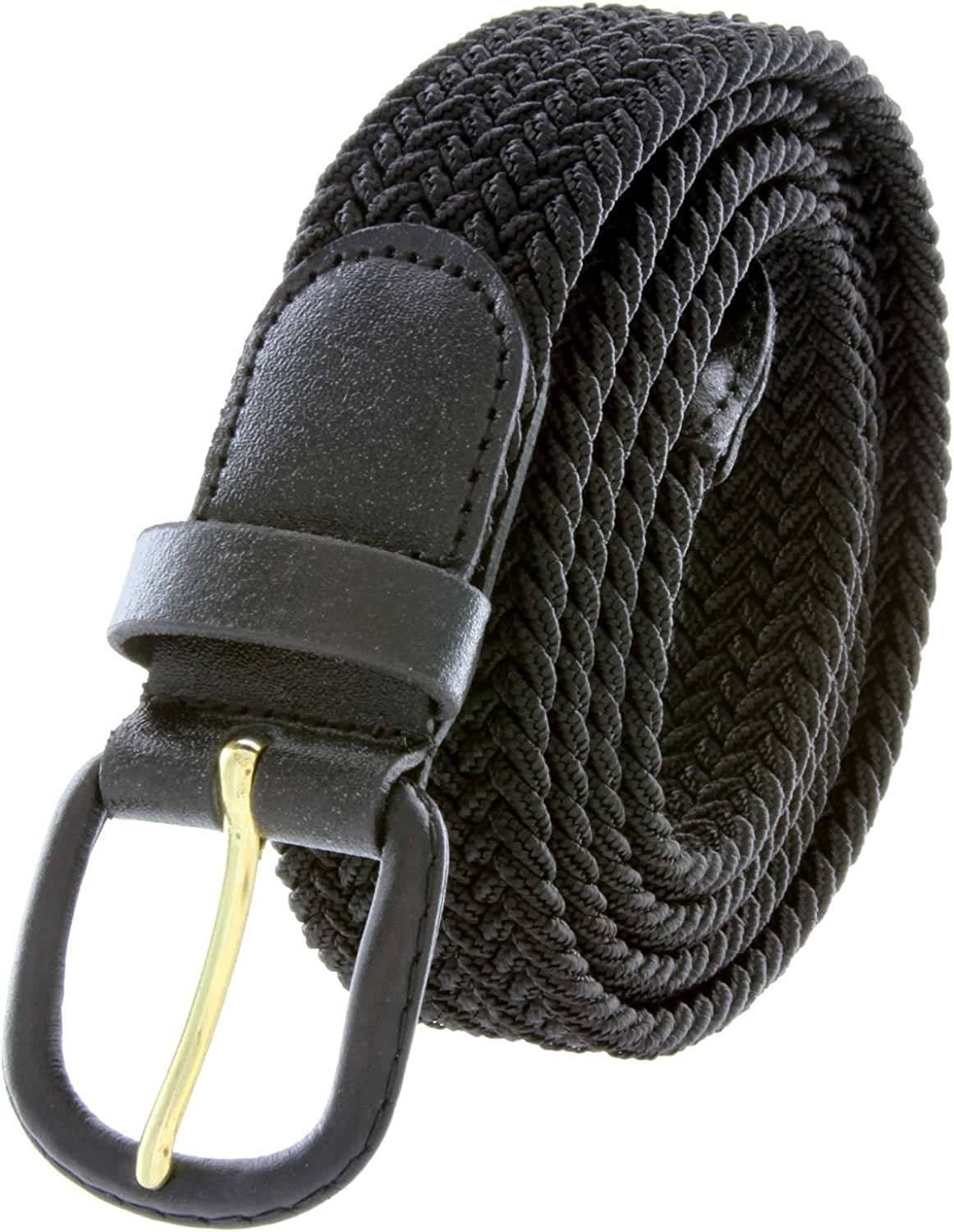 Leather Covered Buckle Woven Elastic Stretch Belt 1-1//4 Wide Grey
