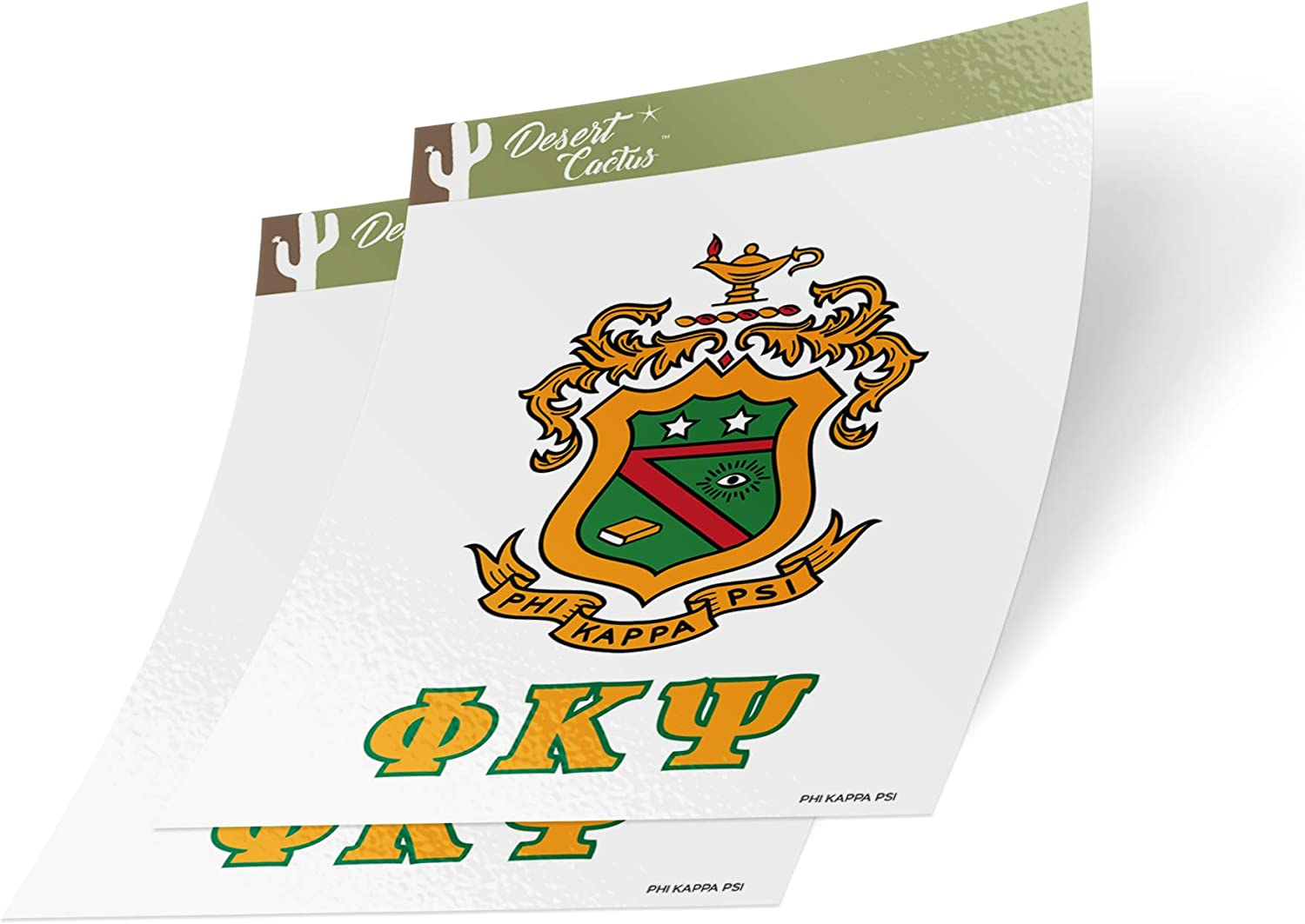 Desert Cactus Phi Kappa Psi Letter 2-Pack Decal Greek for Window Laptop Computer Car Phi Psi (Crest Sticker)