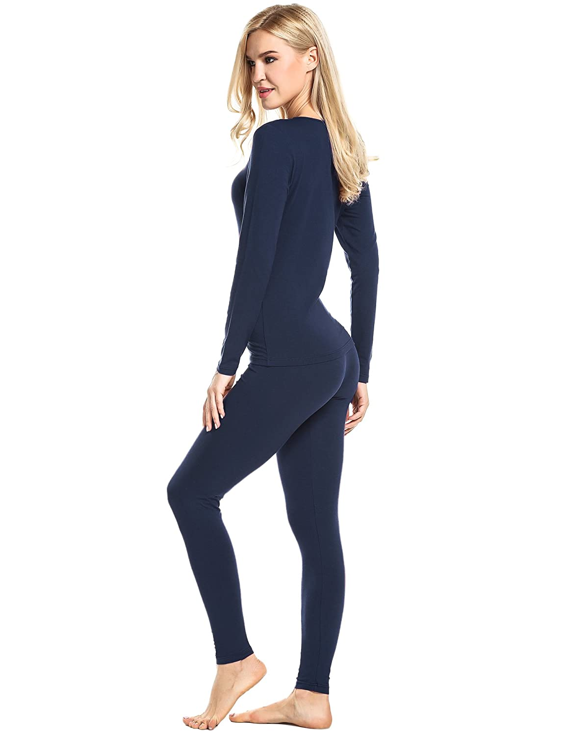 ADOME Damen Baumwolle Thermounterw/äsche Set mit Fleece//ohne Fleece Thermo-Unterw/äsche Set