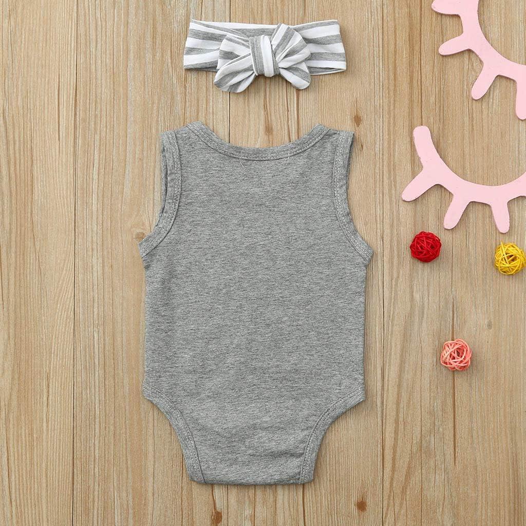 Anxinke Toddlers Girls Summer Sleeveless Ruffles Bowknot Rompers