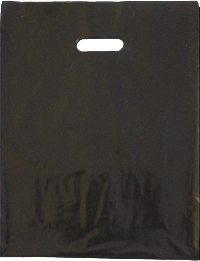 Amazon.com: 100 bolsas de mercancía negras duraderas de 4.7 x 5.9 in, con mango troquelado, acabado brillante, antiestiramiento, 100 % reciclable. Para tiendas al por menor, regalos de fiesta, bolsas de plástico y más por Best Choice: Kitchen & Dining