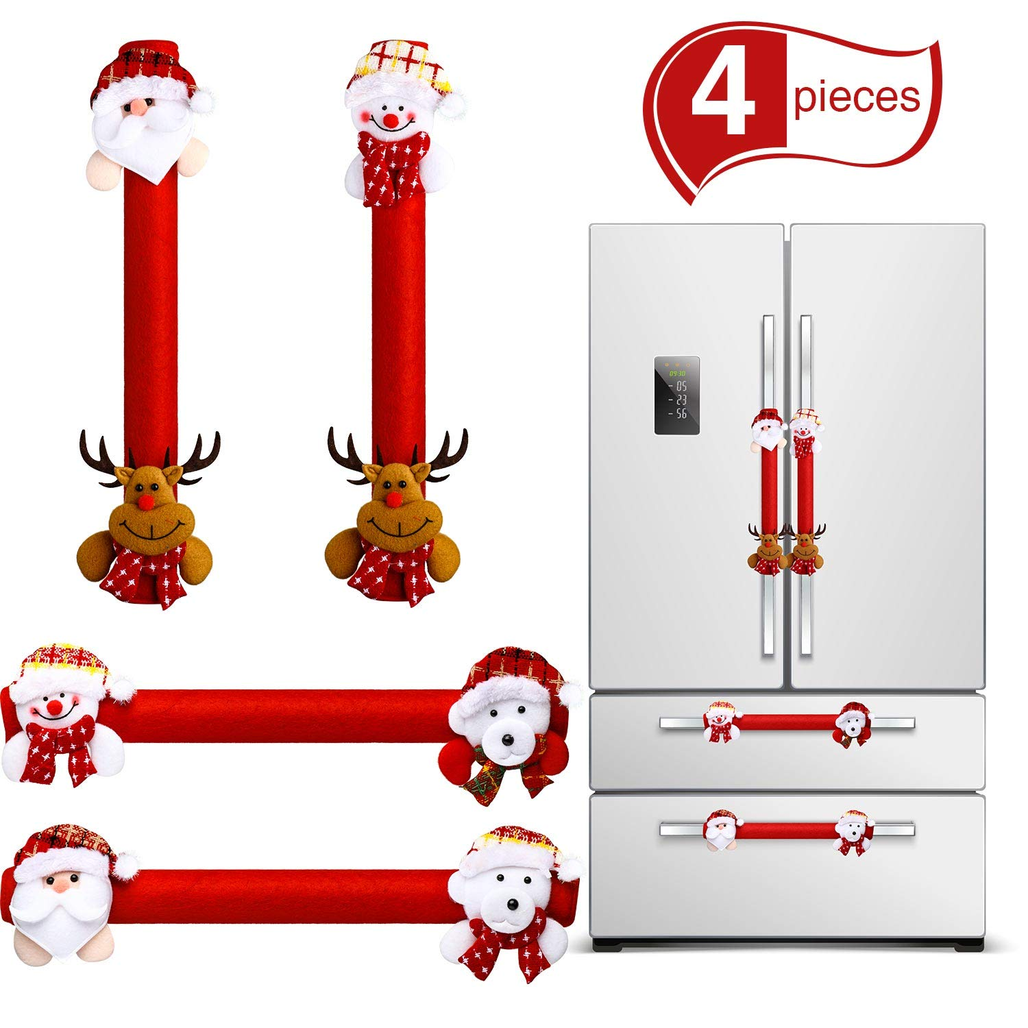 4 Pieces Christmas Refrigerator Door Handle Cover, Snowman Kitchen Appliance Microwave Oven Dishwasher Handle Cover for Christmas Decorations (Red Christmas)