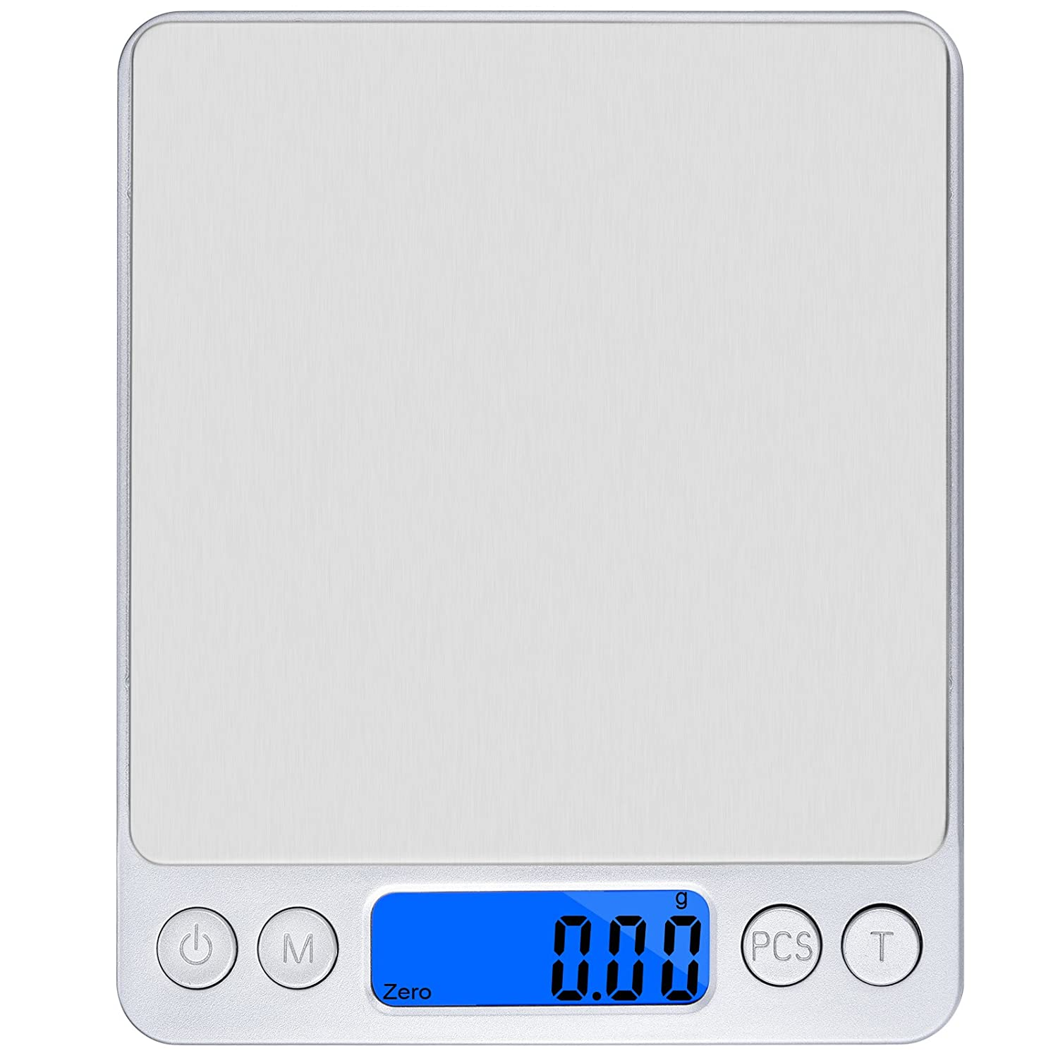 OLRIKE 500g x 0.01g Precison Kitchen Scale Smart Weigh Trae Funtion Pro Digital Kitchen Scales with LCD Blue Backlight Used for Weigh Foods, Powder, Fine Items, Jewellery Etc DMS01