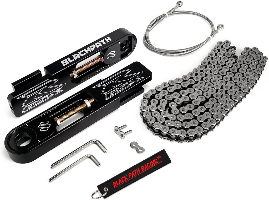 GSX-R750 Silver Chain Kit GSX-R600 SS Brake Line BlackPath T6 Billet Fits 2004-2005 Suzuki Swingarm Extension