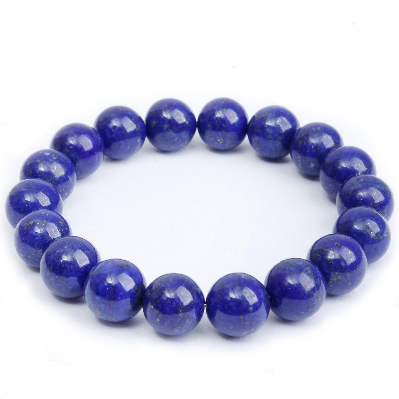 MOON FAIRY 10mm Afghanistan Natural Lapis Lazuli Gem Elastic Beaded Bracelet : Dynasty