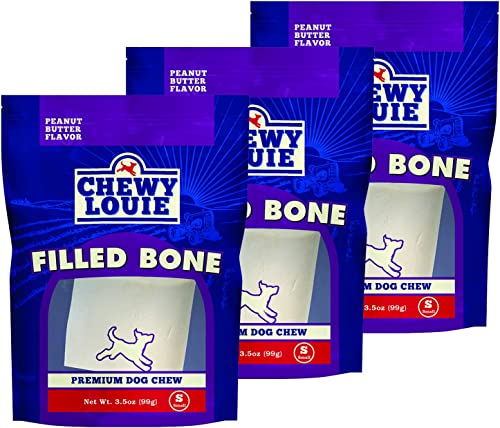 CHEWY LOUIE Natural Filled Bones – Natural Beef Bone with Protein Rich Filling. Long-Lasting with Superior Dental Support Dog Treats.