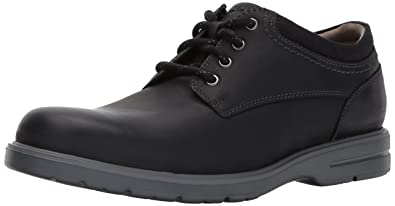 CLARKS Men's Vossen Plain Oxford, Black Leather, ...