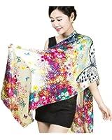 Dopobo Luxus 100% Seide Damenschal, bunt Malerei Print, 52 cm x 175 cm Seidenschal Schal Tuch Stola, viele Wählen