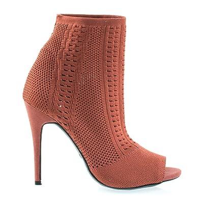 Elastic Woven Above Ankle Bootie Women's Peep Toe High Heel Boots