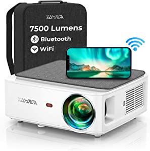 Video Projector, YABER V6 WiFi Bluetooth Projector 7500 Lux Full HD Native 1920×1080P Projector, 4P/4D Keystone Support 4k&Zoom, Portable Wireless LCD LED Home&Outdoor for iOS/Android/PS4