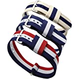 3pc 20mm Nato Ss Nylon Striped Blue /White,blue/white/red,navy Blue/coffee Replacement Watch Strap Band
