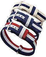 Ritche - 3 cinturini di ricambio Nato per orologio da polso, da 20mm, in nylon, a righe blu/bianco, blu/bianco/rosso, blu navy/caffè