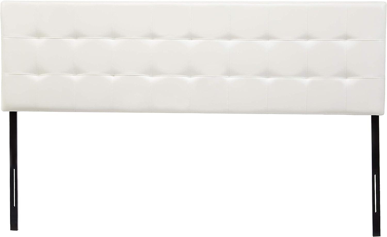 AmazonBasics Modern Tufted Vinyl Upholstered Headboard - King, White