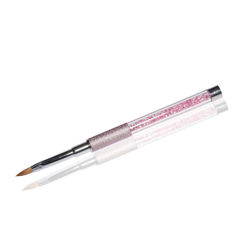Fullcover UV-Gel Pinsel Deluxe Rosa Gr. 4 Katzenzungenpinsel Rosa Strasssteine RM Beautynails