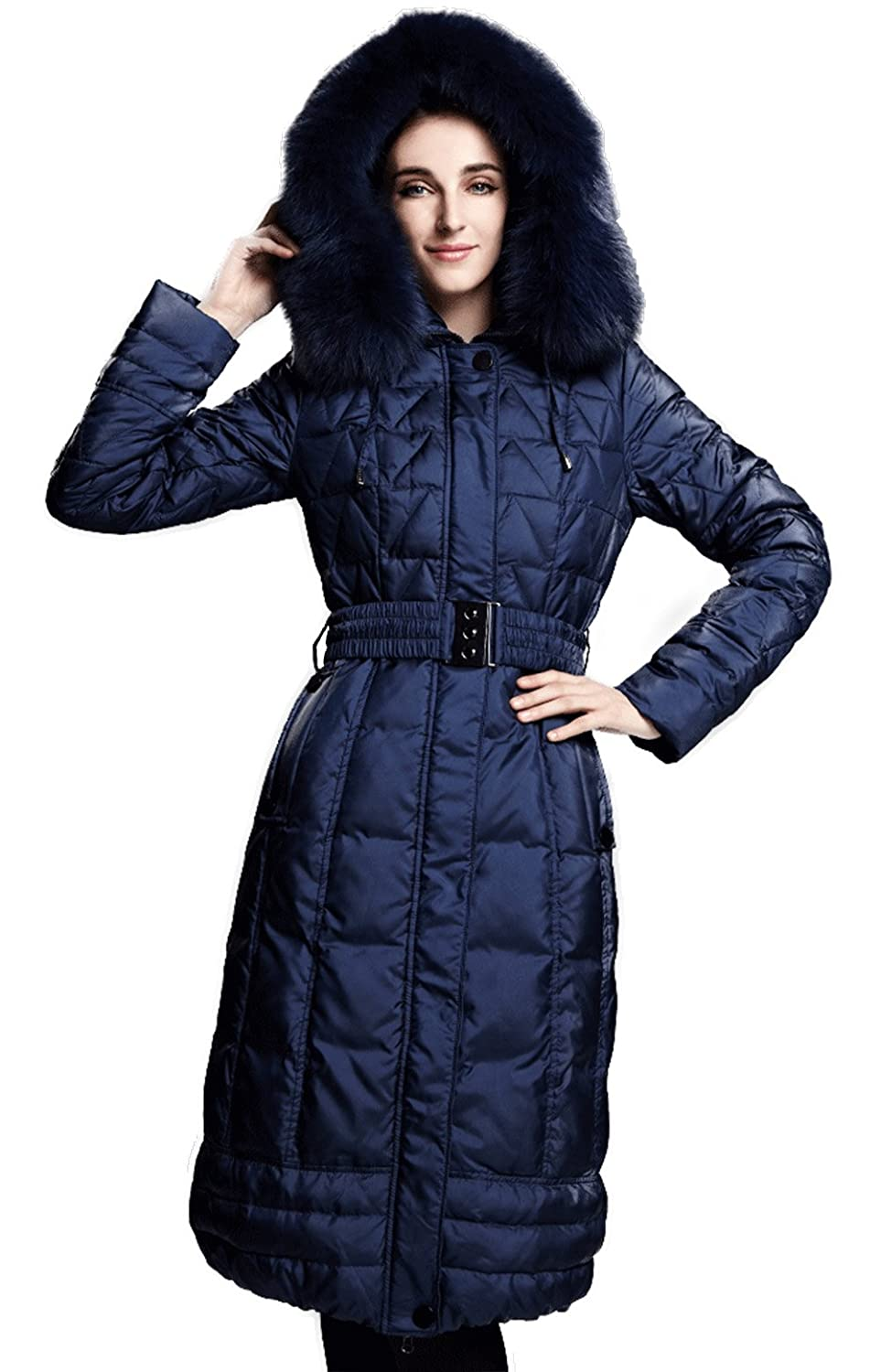 f958ada393f Amazon.com: Ncit Women's Belted Empire Line Fur Trim Puffer Quilted Down  Jacket Coat Black 3XL: Clothing