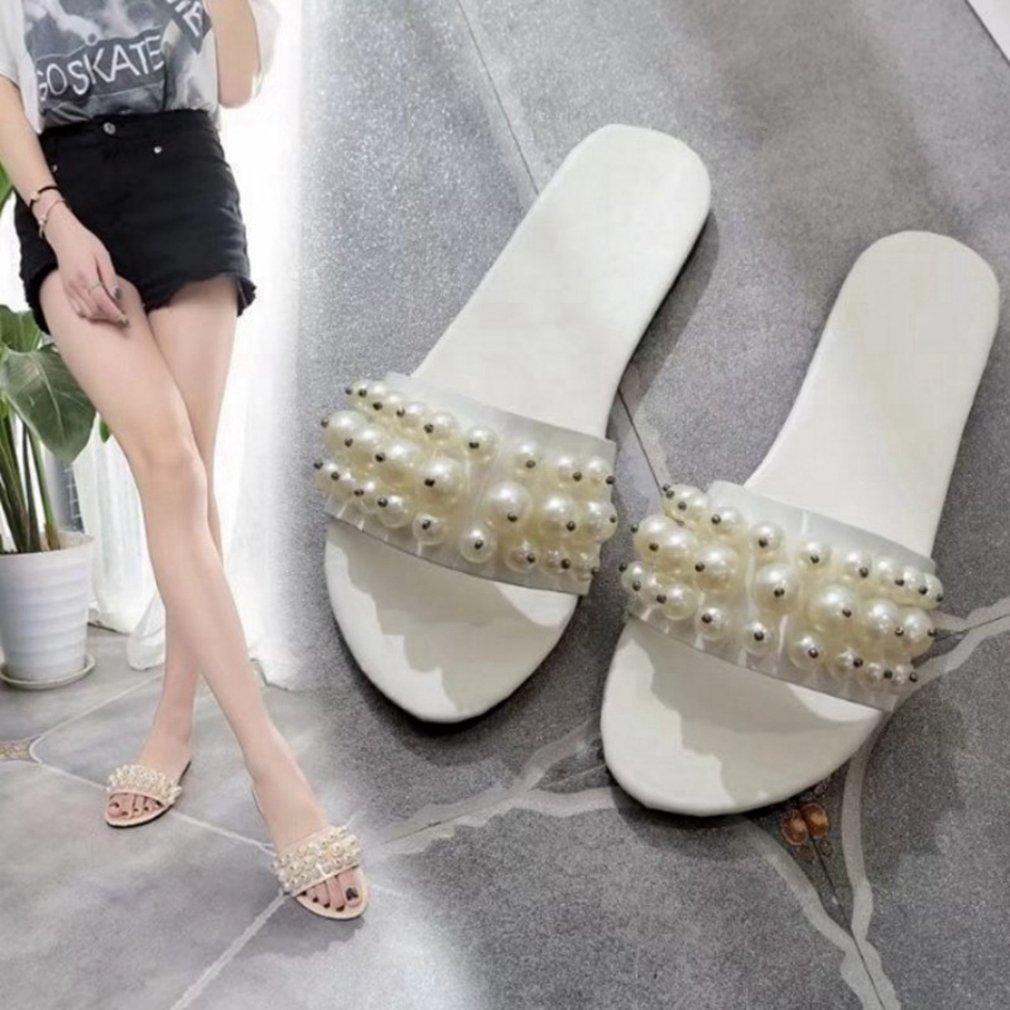 Kyle Walsh Pa Women Flip Flop Flat Sandals,Pearl Peep Toe Indoor Anti-Skid Beach Slipper Shoes