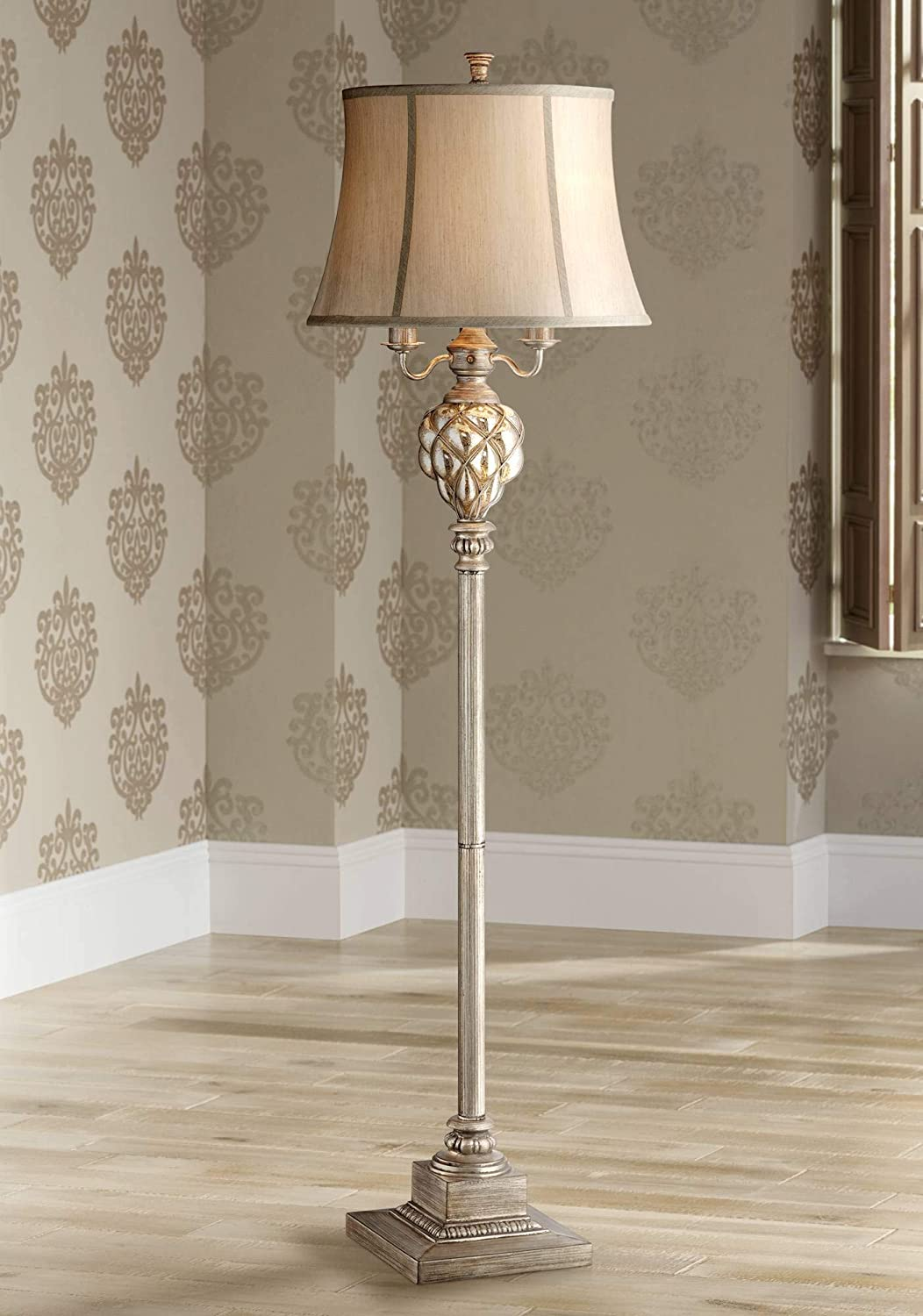 Olde Traditional Floor Lamp with Nightlight LED Olde Silver Mercury Glass Faux Silk Bell Shade for Living Room Reading – Barnes and Ivy