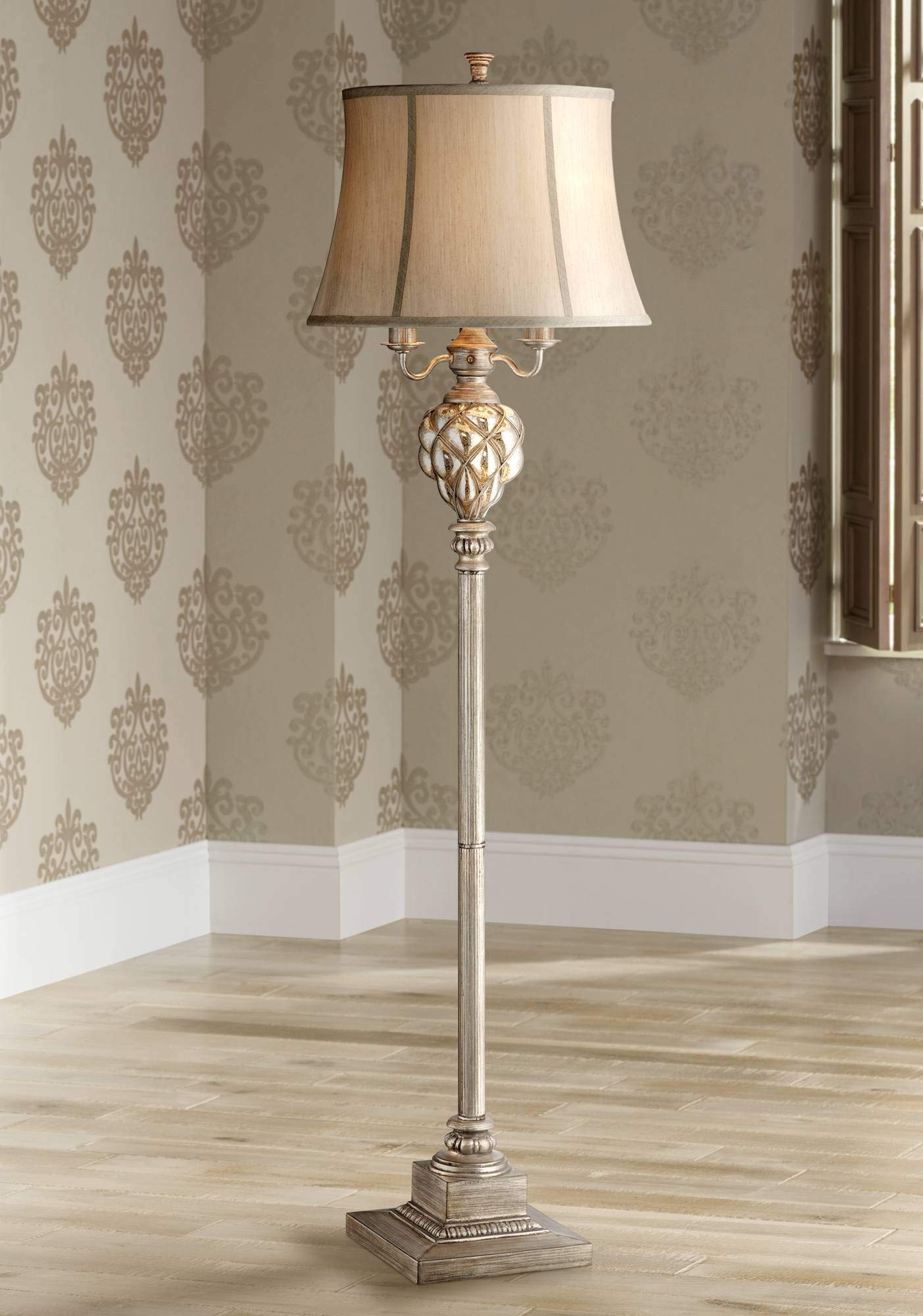 Olde Traditional Floor Lamp with Nightlight LED Olde Silver Mercury Glass Faux Silk Bell Shade for Living Room Reading - Barnes and Ivy