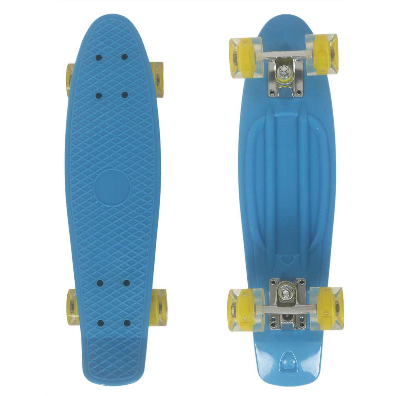Buysyall® Monopatín Mini Skateboards Estilo Cruiser Ruedas con Luces Intermitentes Retro Amortiguador para Niños, Adolescentes o Adultos, Rodamientos de Acero Cromado ABEC-7, 55 x 15,5 x 9,5cm Busyall