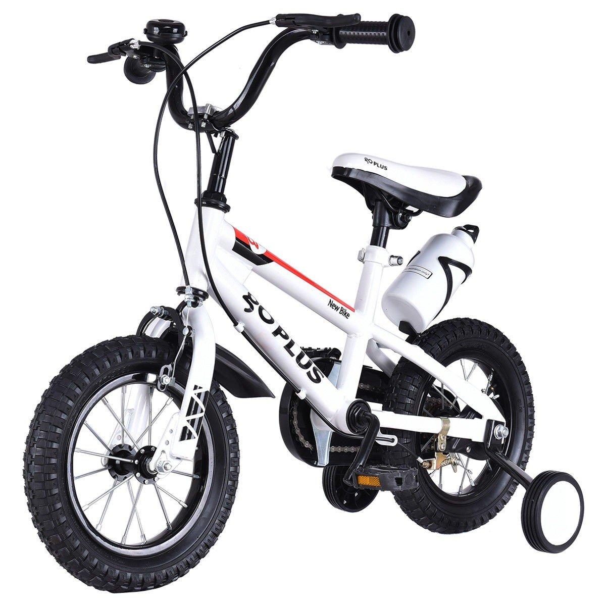 MD Group Kids Bicycle 20'' Adjustable Freestyle Boys & Girls White Metal w/ Training Wheels