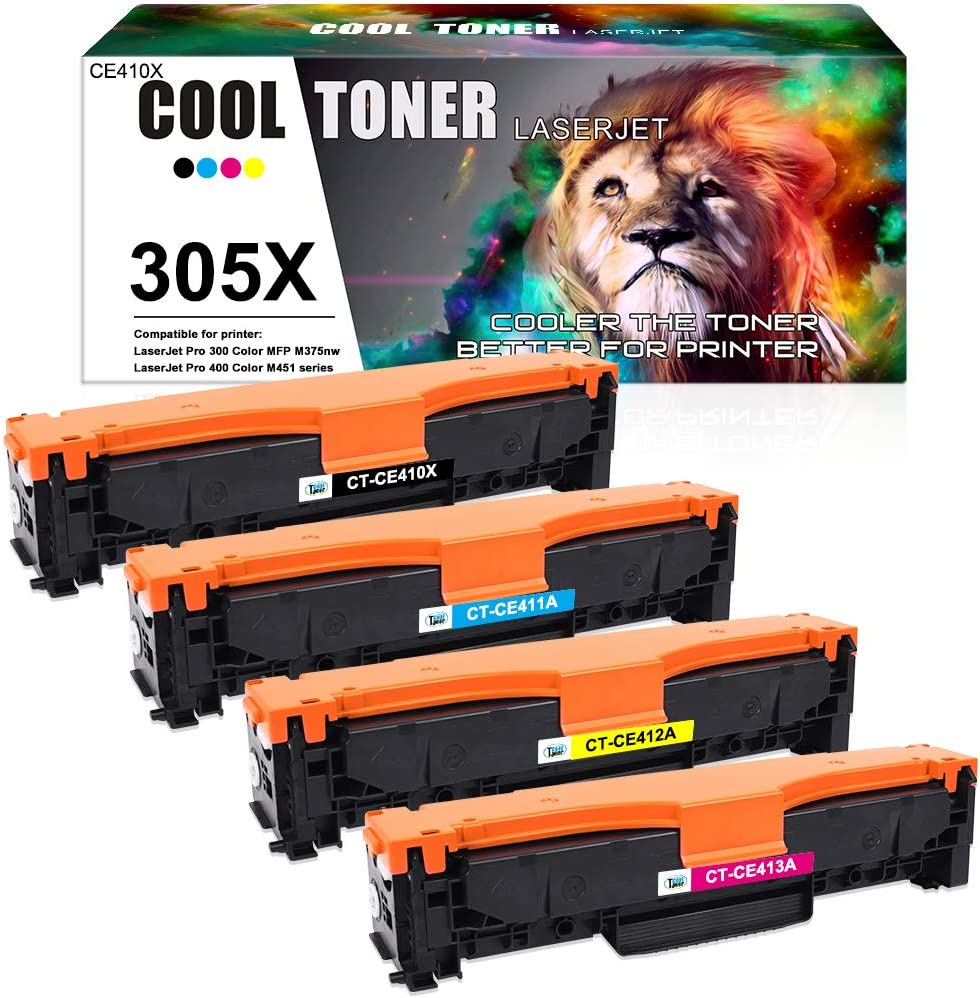 Cool Toner Compatible Toner Cartridge Replacement for HP 305A 305X CE410A CE410X for HP Laserjet Pro 400 Toner M451dn M451dw M451nw M475dw M475dn Pro 300 M375nw Ink (Black Cyan Magenta Yellow, 4-Pack)