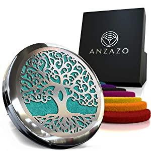 """Car Essential Oil Diffuser - 1.5"""" Magnetic Locket Set with Air Vent Clip - Best for Aromatherapy - Fragrance Air Freshener, Scents Diffusers - Jewelry for Car, Tree of Life"""