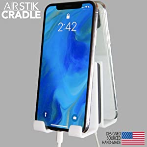 AIRSTIK Cradle for Any Phone Tablet Pad Holder Selfie Caddy Mount Shelf Bathroom Shower Glass Mirror Window Wall Universal Reusable Waterproof Compatible with Any iPhone or iPad Made in USA (White)