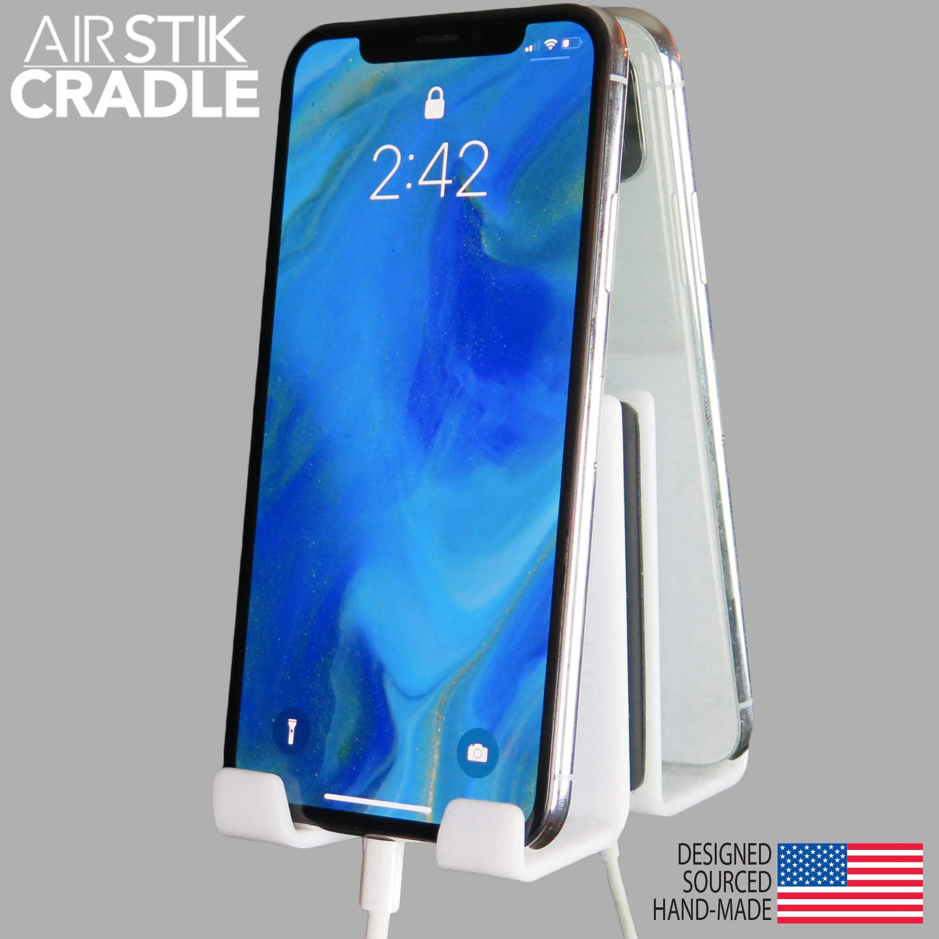 AIRSTIK Cradle for Any Phone Tablet Pad Holder Selfie Caddy Mount Shelf Bathroom Shower Glass Mirror Window Wall Universal Reusable Waterproof Compatible with Any iPhone or iPad Made in USA (White) by AIRSTIK