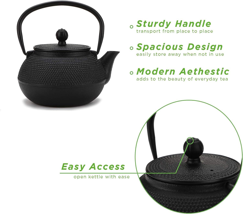 Mind Reader 10CATEA-BLK Japanese Tetsubin Kettle Cast Iron Tea Pot with Stainles Steel Infuser 10 Oz Black