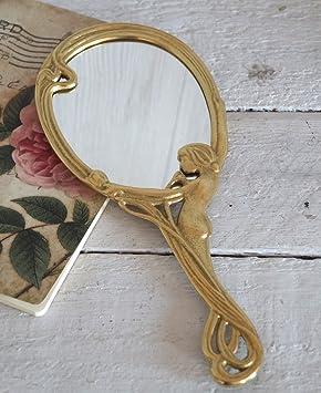 Schminkspiegel Kosmetikspiegel Handspiegel Spiegel im Jugendstil Messing