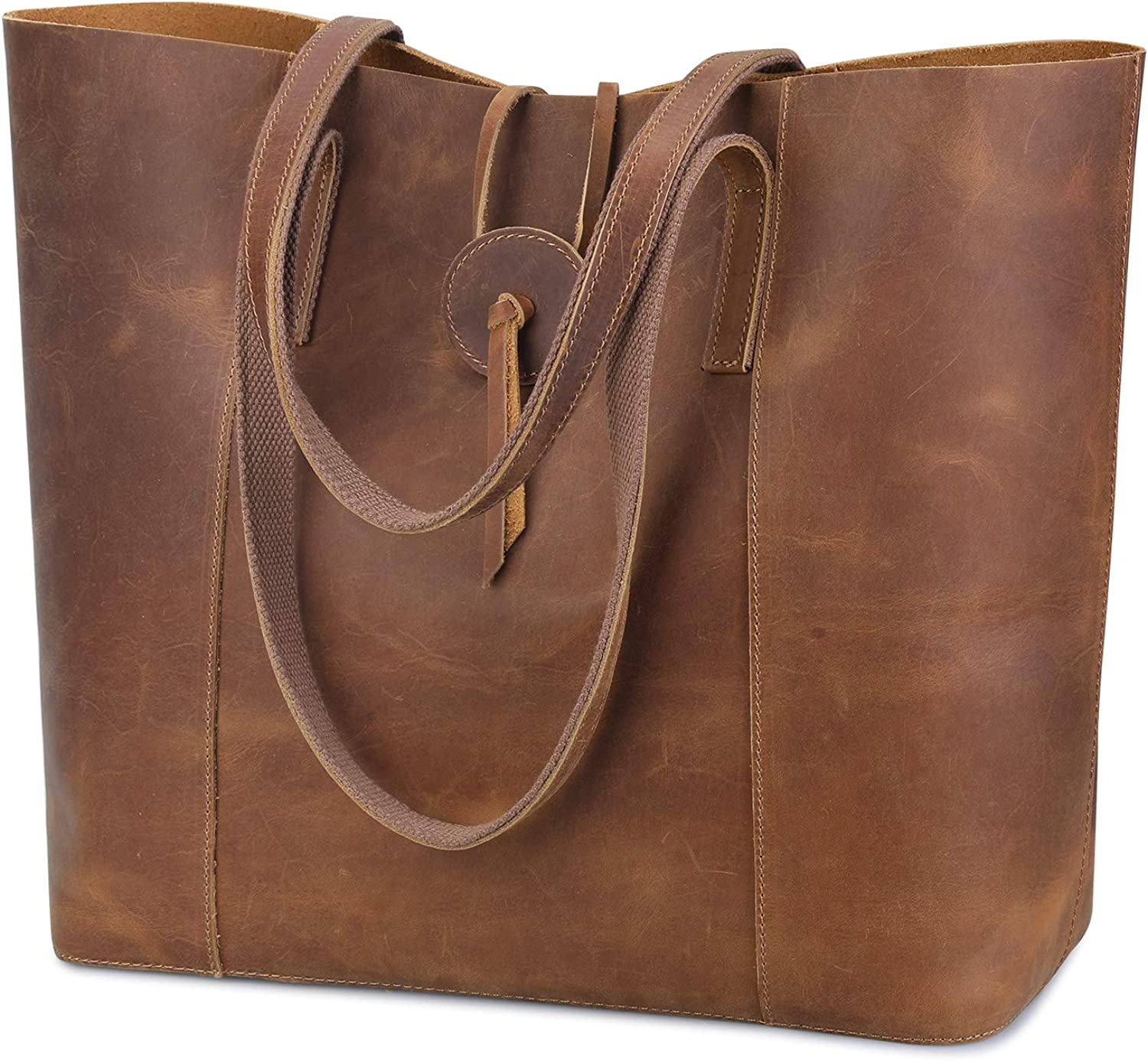 S-ZONE Vintage Genuine Leather Tote Bag for Women Large Shoulder Purse Handbag