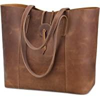 S-ZONE Vintage Women Genuine Leather Tote Bag Purse with Removable Pouch Upgraded 3.0 Version