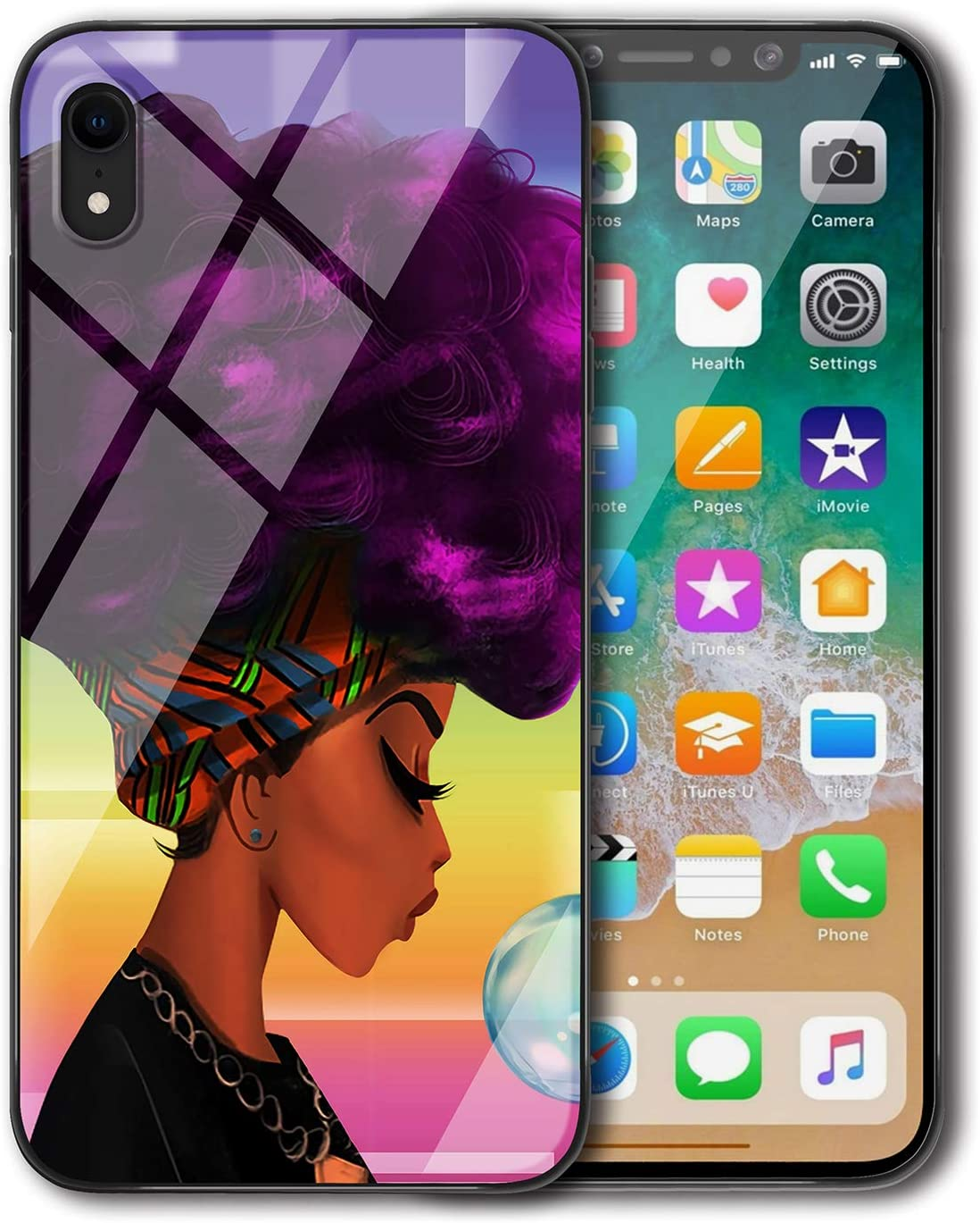 Amazon Com Kitata Iphone Xr Case For Girls Slim Fit African American Women Afro Purple And Black Art Print Design Shockproof Impact Resistant Drop Protection Protective Tpu Silicone