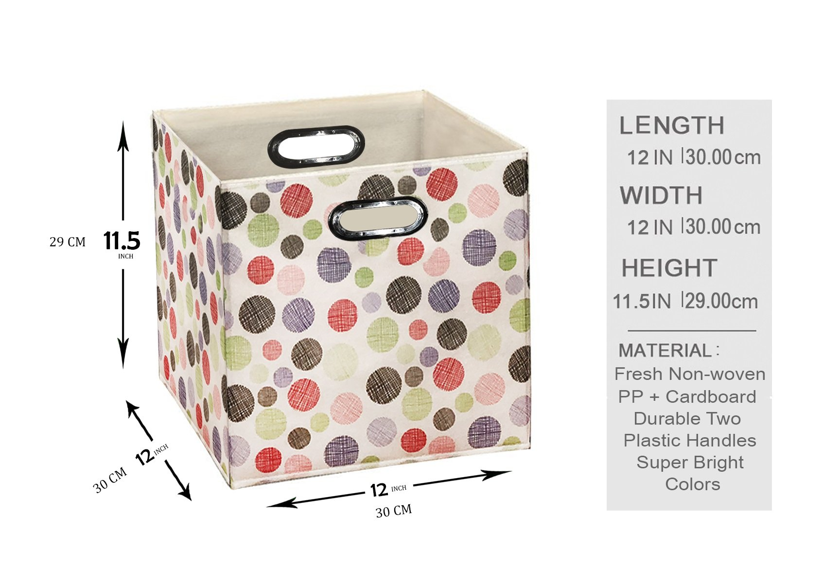 [6 Pack,Polka & Love Pattern] Large Storage Bins, Containers, Boxes, Tote, Baskets| Collapsible Storage Cubes For Household Offices Organization |Nursery Foldable Fresh Cubes| Dual Plastic Handle by Prorighty (Image #3)