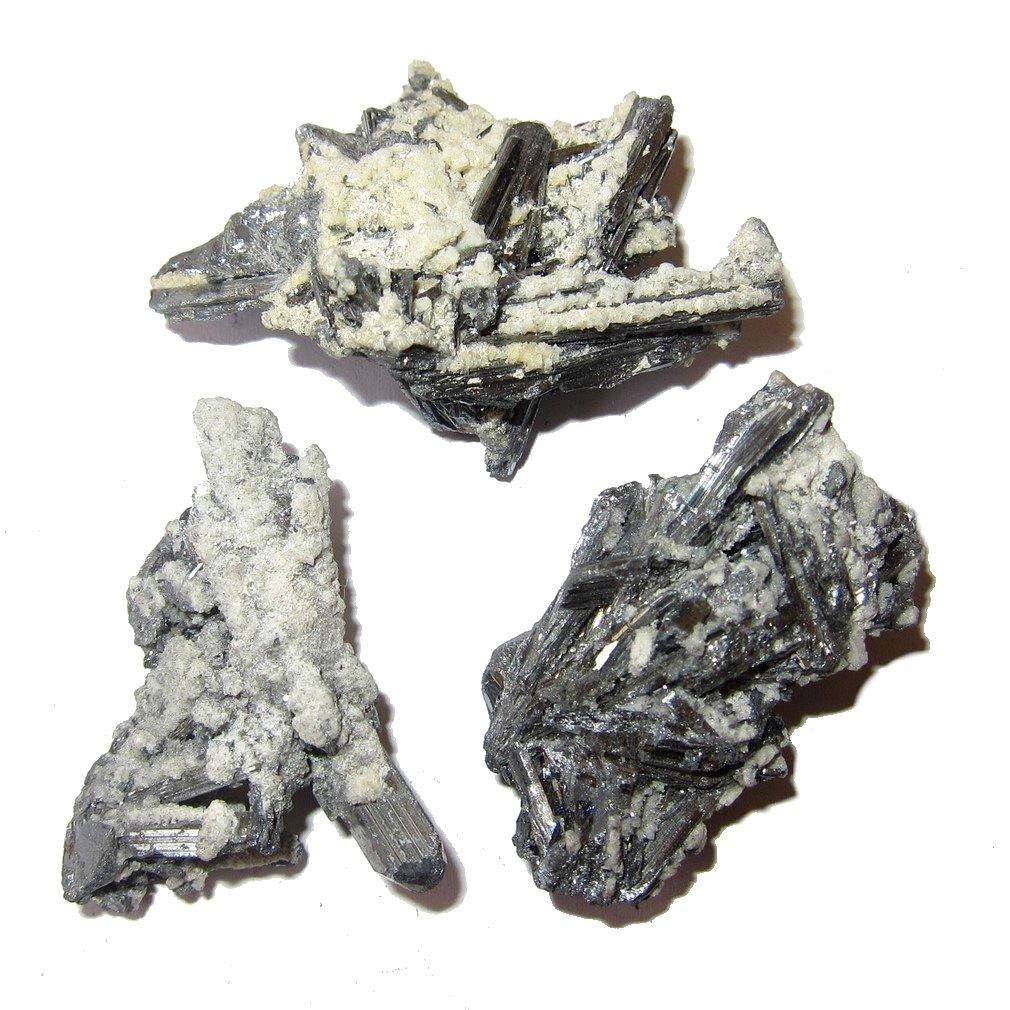 Satin Crystals Stibnite Raw Gemstone 1.7'' Collectible Set of 3 Silver Nebula Nest Clusters Energy Matrix Reality Meditation Stones C25